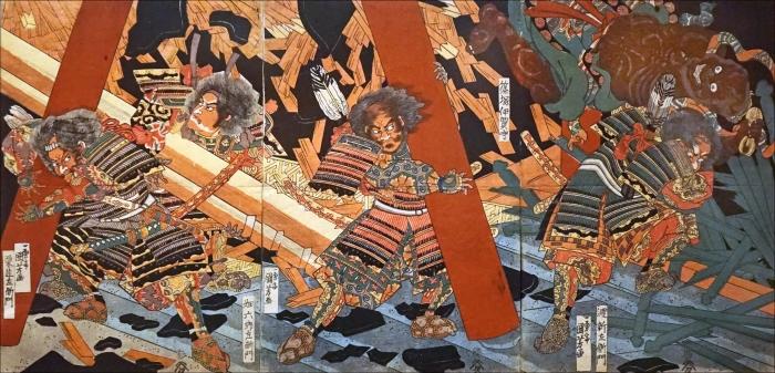 Les quatre grands serviteurs de Nitta Yoshisada lors de la bataille au monastère Miidera,