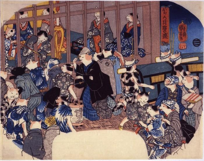 Lune vague, chats en chaleur (1846) - Utagawa Kuniyoshi